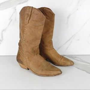 MIA Cowgirl Cowboy Brown Boots Booties 8.5